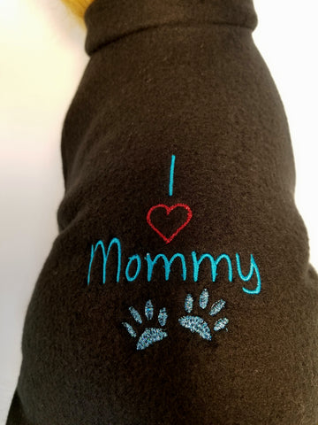 I Love Mommy Embroidered Black Fleece Dog Sweater Sweatshirt
