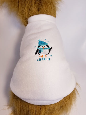 Chilly Winter Penguin Embroidered White Fleece Dog Sweater Sweatshirt