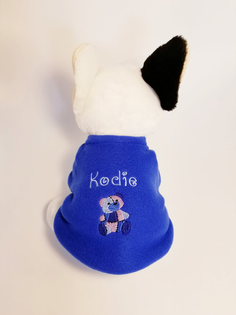Teddy Bear Your Dog's Name Personalized Embroidered Fleece Dog Sweater Blue