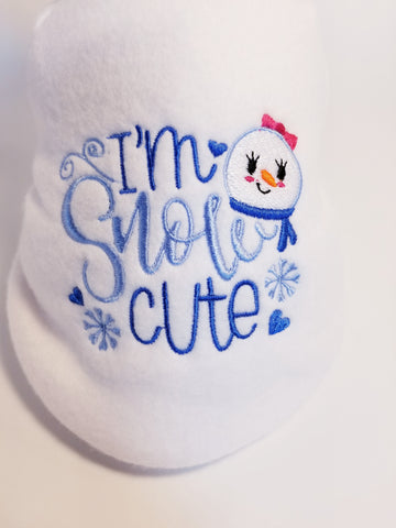 I'm Snow Cute Snowman Embroidered White Fleece Dog Sweater Sweatshirt