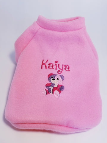 Teddy Bear Your Dog's Name Personalized Embroidered Fleece Dog Sweater Pink