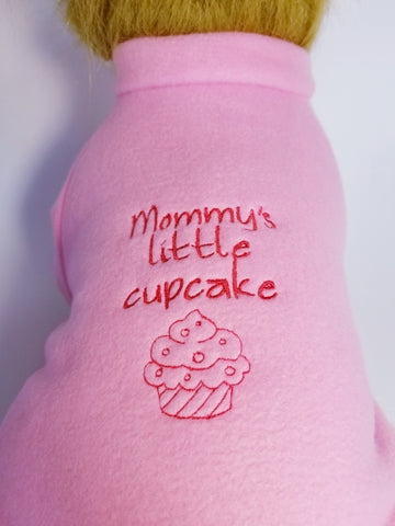 Mommy's Little Cupcake Embroidered Pink Fleece Dog Sweater Shirt