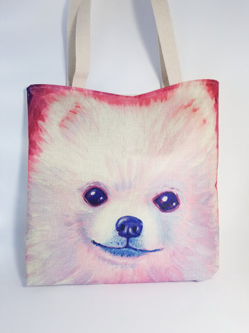 Pomeranian Dog Face Tote Purse Reusable Shopping Bag