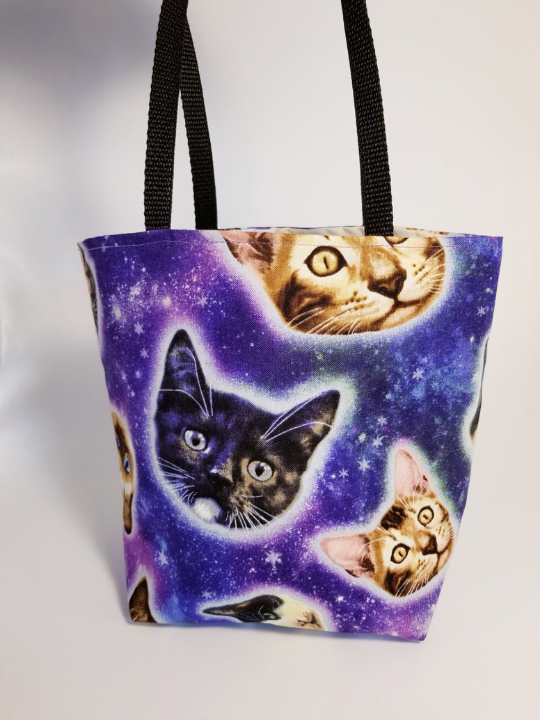 Outer Space Cosmic Kitty Cat Tote Bag - Small