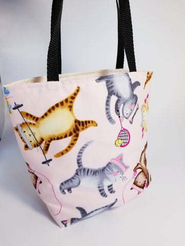 Fitness Workout Exercise Tennis Weightlifting Kitty Cat Tote Bag - Small