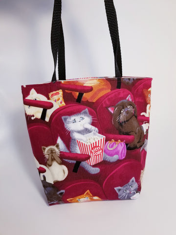 Movie Popcorn Kitty Cat Tote Bag - Small