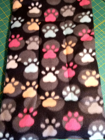 Fleece Dog Bed/Crate Mat Black with Colorful Paws