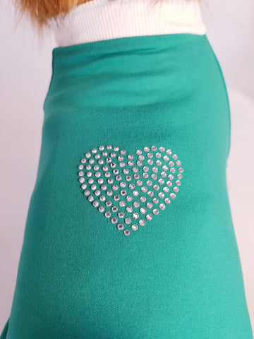 Sparkle Heart Teal Turquoise Dog T-shirt