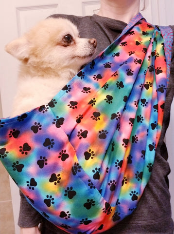 Tie Dye and Blue Batik Reversible Sling Carrier for Dogs