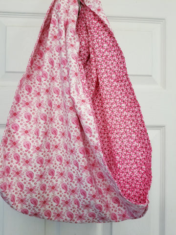 Pink Floral Reversible Sling Carrier for Dogs