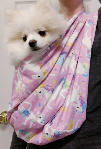 Pink Unicorn Rainbow Sparkle Sling Carrier for Dogs