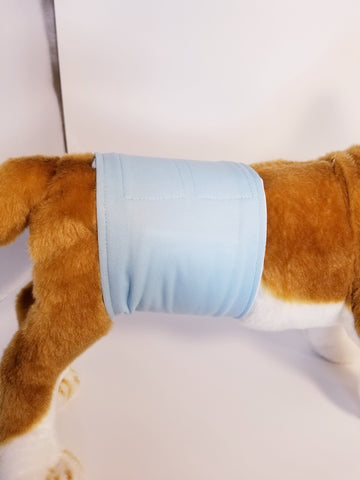 Baby Blue Washable Reusable Belly Band for Dogs