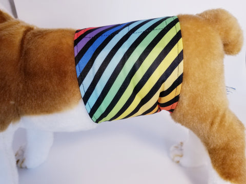 Rainbow Stripe Washable Reusable Belly Band for Dogs