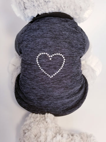 Sparkle Heart Charcoal Gray Heather Dog T-shirt