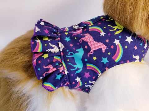 Magical Unicorn Dog Harness with Ruffle