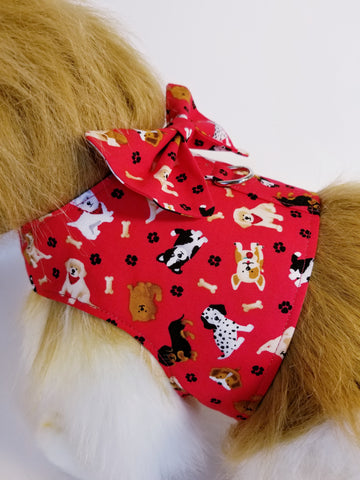 Red Puppy Dog Harness with Bow Tie