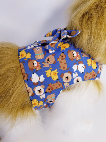 Blue Puppy Dog Harness with Bow Tie