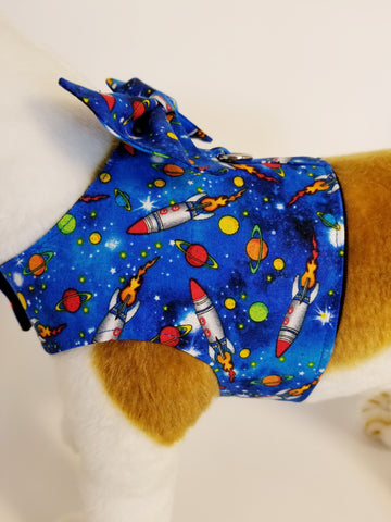 Rocket Ship Outer Space Dog Harness with Bow Tie