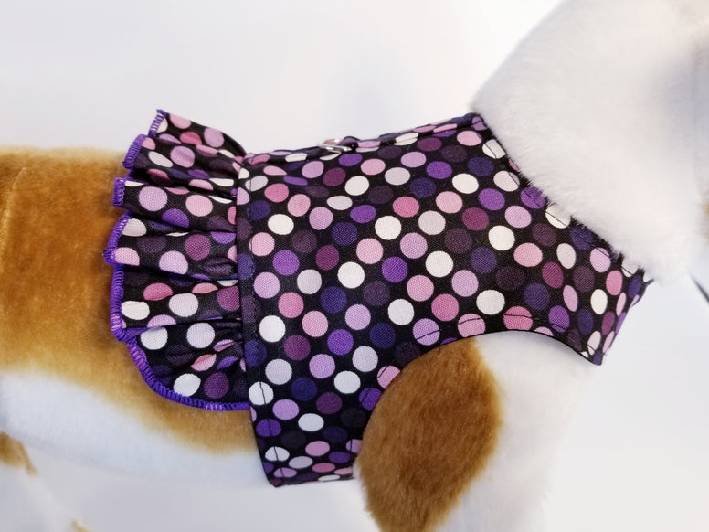Purple Polka Dot Dog Harness with Ruffle