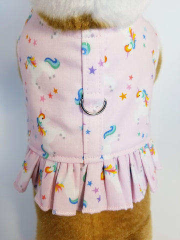 Pink Rainbow Unicorn Dog Harness with Ruffle