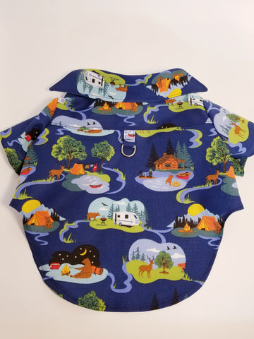 Happy Camper Camping Fishing Vacation Dress Shirt
