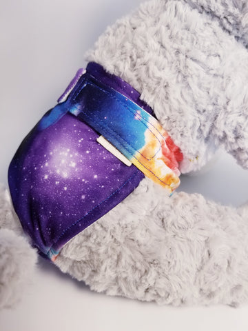Outer Space Galaxy Nebula Blue Washable Reusable Dog Diaper