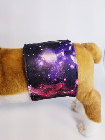 Outer Space Galaxy Nebula Black Washable Reusable Belly Band