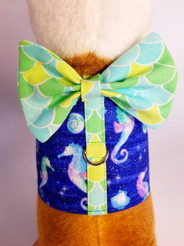 Merman Seahorse Sparkle Harness with Bow Tie