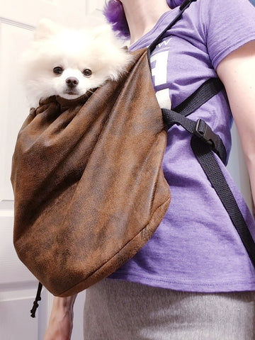 Small Dog Front Backpack Carrier - Distressed Brown Vegan Suede