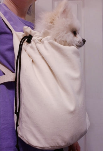 Small Dog Front Backpack Carrier - Cream Canvas