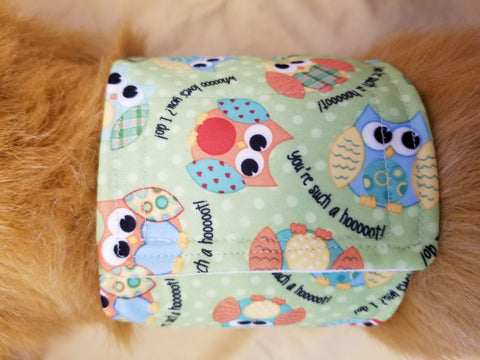 Waterproof Absorbent Belly Band for Dogs Owl Print