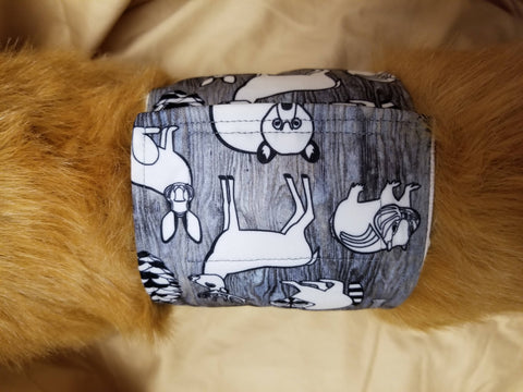 Waterproof Absorbent Belly Band for Dogs Gray Woods Print