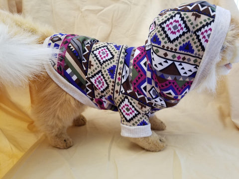 Colorful Aztec Print Dog Hoodie