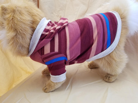 Burgundy Striped Dog Hoodie