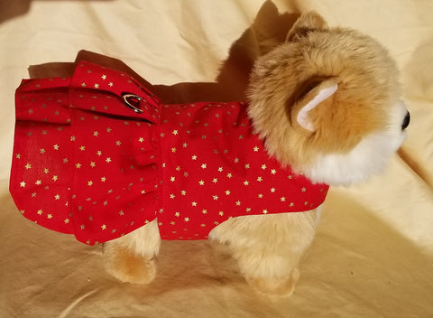 Red with Gold Stars Christmas Dog Dress