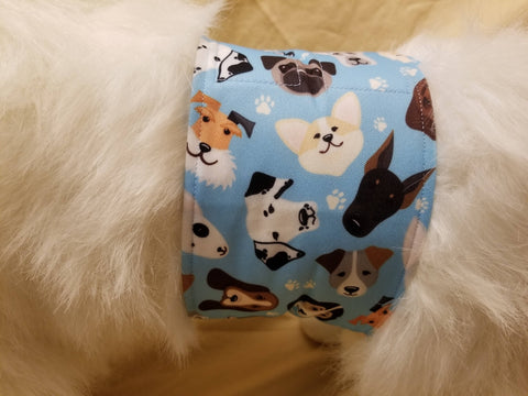 Waterproof Absorbent Belly Band for Dogs Blue Dog Print