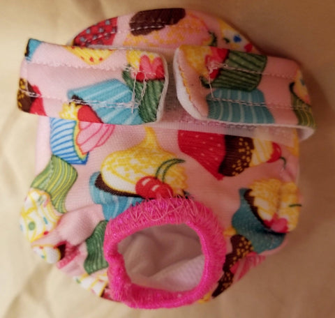 Waterproof Absorbent Dog Diaper Cupcake Print Washable Reusable