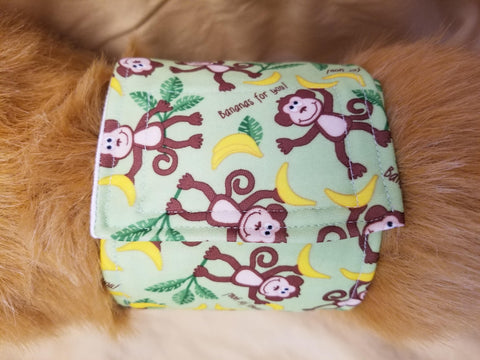 Waterproof Absorbent Belly Band for Dogs Green Monkey Print