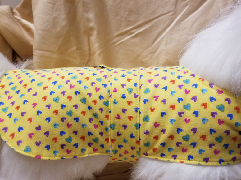 Yellow Hearts Dog Coat