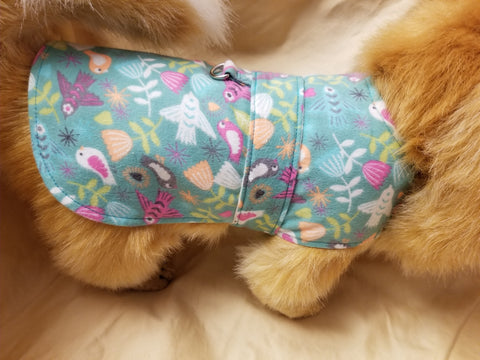 Colorful Birds Handmade Dog Coat