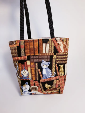 Library Book Reading Bookworm Kitty Cat Tote Bag - Small