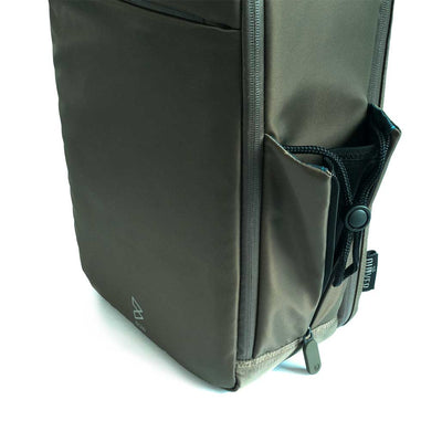 Limited Edition Olive Quiver by BOWFORBOLD, gym, sports and day bag olive side bottle compartment angled view
