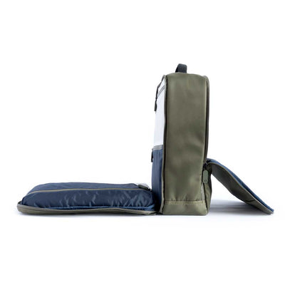 Limited Edition Olive Quiver by BOWFORBOLD, gym, sports and day bag, midnight blue shower compartment with towels, toiletries and touch sensitive phone pouch, lie-flat packing