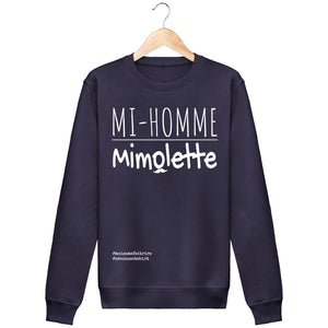 Sweat Mi-Homme Mimolette - Imprimé Blanc - Zé Connect Shirt France
