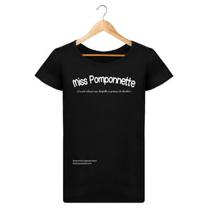 T-Shirt Femme Miss Pomponnette - Imprimé Blanc - Zé Connect Shirt France