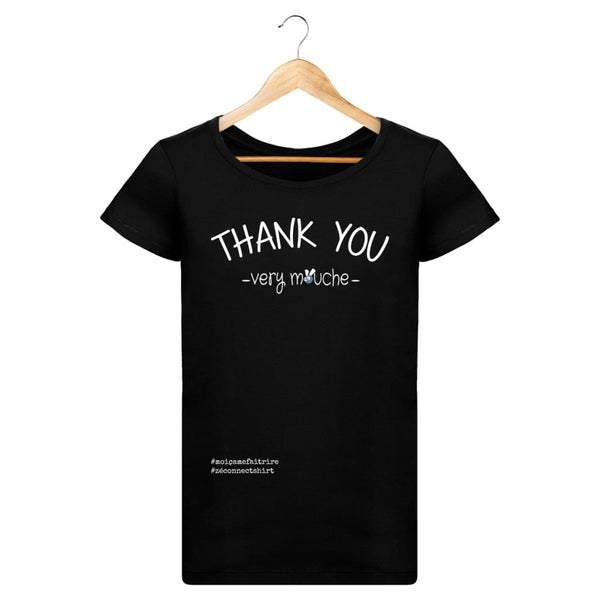 T-Shirt Femme Thank You Very Mouche - Imprimé Blanc - Zé Connect Shirt France