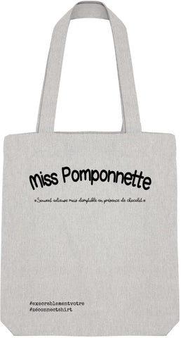 Tote Bag Miss Pomponnette - Imprimé Noir - Zé Connect Shirt France