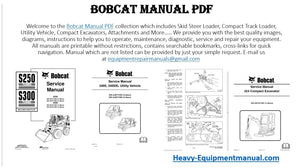 Bobcat workshop service repair parts operation and maintenance manual download
