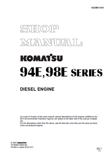 2003 KOMATSU 94E 98E Series Diesel Engine Workshop Service Repair Manual