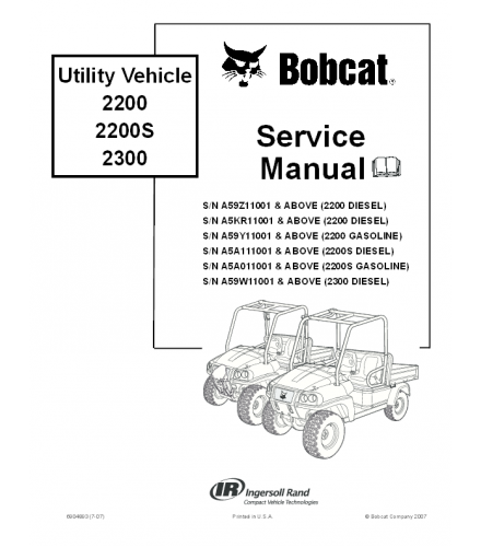 BOBCAT 2200, 2200S, 2300 UTILITY VEHICLE SERVICE REPAIR MANUAL